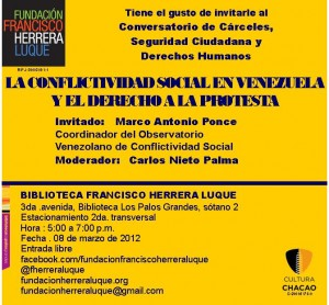 CONVERSATORIO DE DDHH: CONFLICTIVIDAD SOCIAL EN VENEZUELA (08/03/2012)