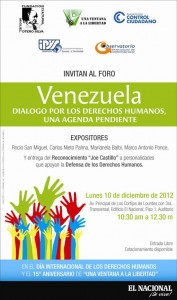 INVITACIÓN: FORO POR EL DÍA INTERNACIONAL DE LOS DERECHOS HUMANOS Y ENTREGA DE RECONOCIMIENTOS