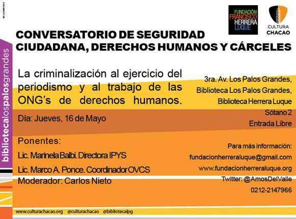 Conversatorio criminalizacion a periodistas y Ong