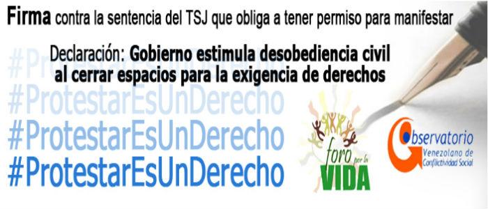 Declaración en rechazo a sentencia del TSJ sobre permisos para manifestar