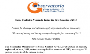 Social Conflict in Venezuela during the First Semester of 2015