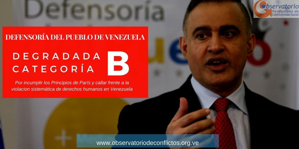 Defensoría del Pueblo de Venezuela degradada a categoría B