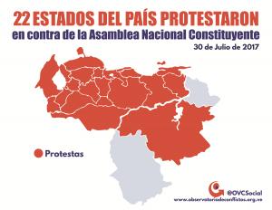 Protestas en 92% del territorio nacional en contra de la ANC