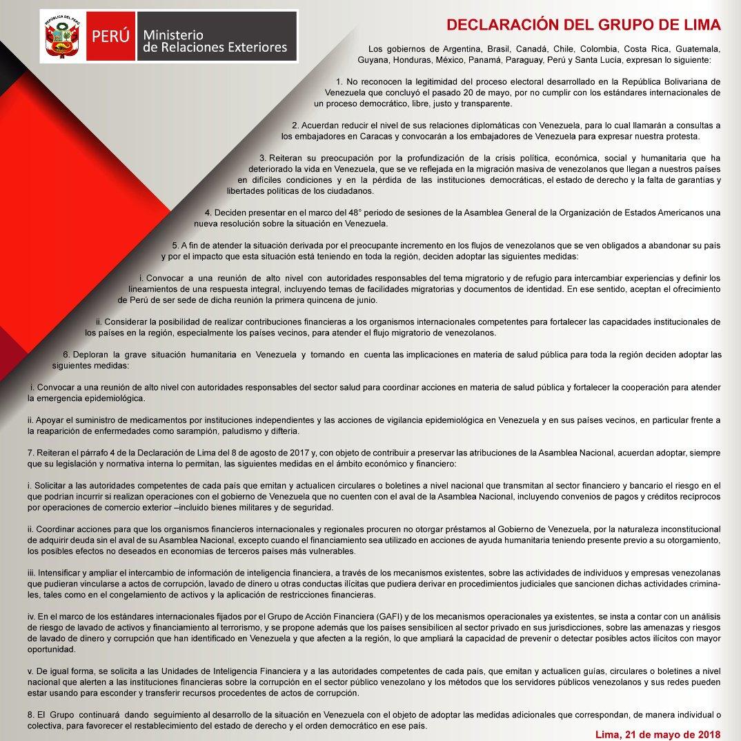 Grupo de Lima no reconoce la legitimidad de la jornada de votación desarrollada en Venezuela del 20 de mayo