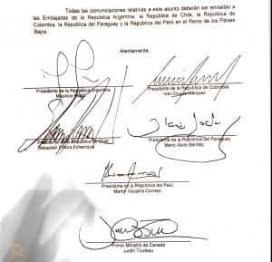 Carta dirigida a la Corte Penal Internacional por parte de Argentina, Colombia, Chile, Paraguay, Perú y Canadá sobre crímenes de Lesa Humanidad en Venezuela