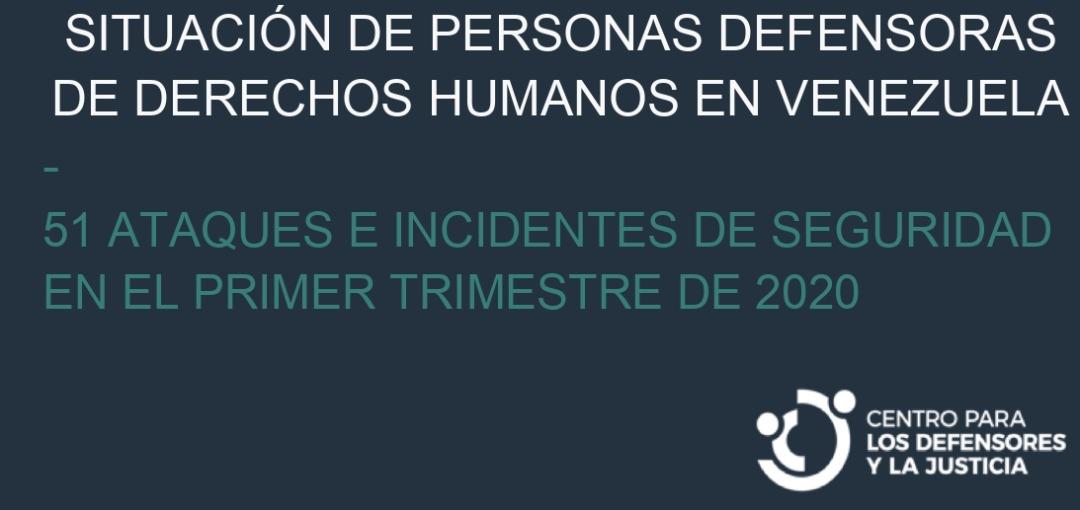 CDJ: Situación de personas defensoras de derechos humanos en Venezuela  Enero-Marzo 2020