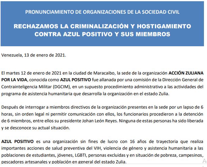 Pronunciamiento de la Sociedad Civil Rechazo a la criminalización y hostigamiento contra AZUL POSITIVO y sus miembros